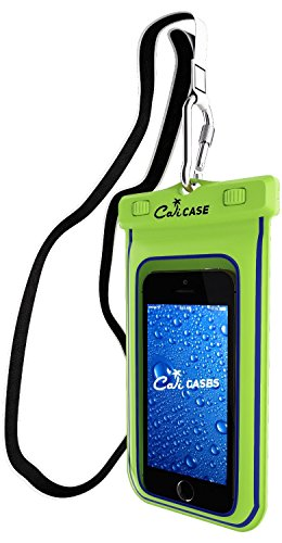 CaliCase Universal Waterproof Floating Case Pouch - Yellow Glow in Dark