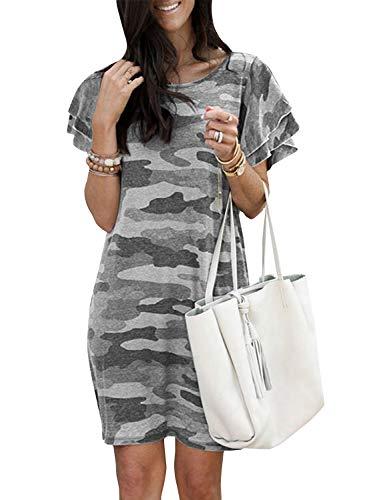 Cindeyar Sommerkleid Damen Lose Kurzarm Freizeit Kleid Rundhals Strandkleider Tarnung Knielang Kleid (M, Grau)