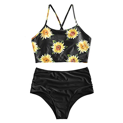 ZAFUL - Tankini para mujer, cintura alta, diseño floral Negro XXL