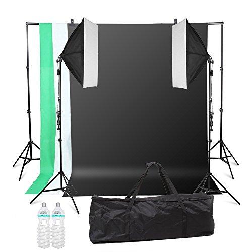 MVPOWER Profi Studio Kit mit Softbox Hintergrundsystem Lampenhalter Fotostudio Dauerlicht Set inkl. Fotoleuchte