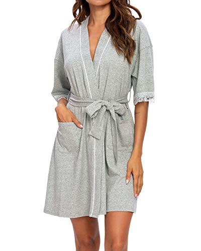MINTLIMIT Damen Morgenmantel Kimono Robe Kurze Nachtwäsche V Ausschnitt Bademantel Saunamantel Mit Gürtel (Grau,Größe L)