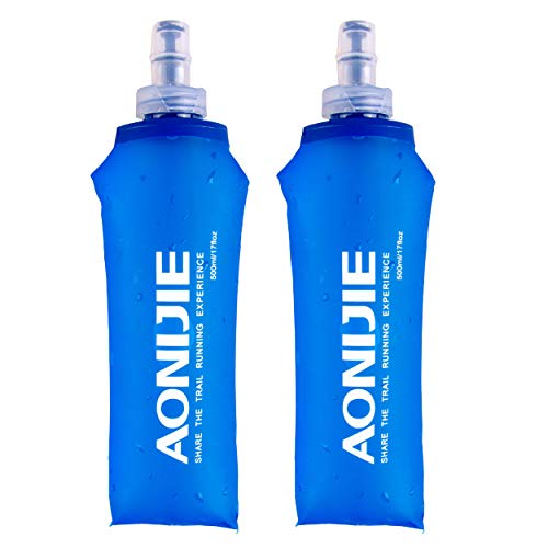 TRIWONDER TPU Soft Folding Water Bottles (500ml/16.9oz - Pack of 2)