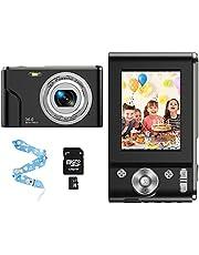 CLUINIGO Fotocamera digitale 1080P HD Macchina Fotografica Include 32GB SD carta,Videocamera digitale Vlogging Mini Video Fotocamer 16x Zoom per studenti, anziani, bambini,principiante-Nero