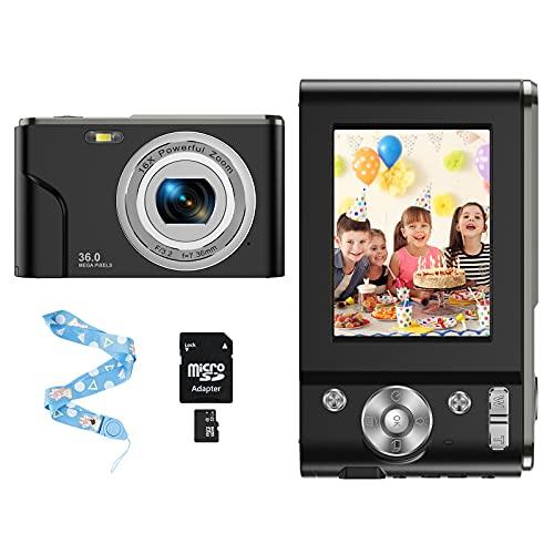 CLUINIGO Compactas Cámaras Digitales,Cámara de Fotos 1080P HD Recargable Video Cámaras Digitales Zoom Digital 16X con Tarjeta SD de 32GB para Estudiantes, Personas Mayores, Adolescentes, Adultos-Negro