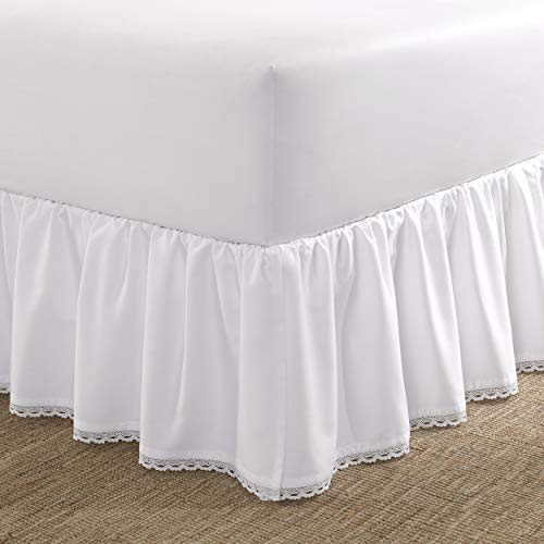 Laura Ashley Home Crochet Ruffled Bedskirt, Twin, White