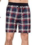 Doaraha Pantalones Cortos de Pijama a Cuadros para Hombre Algodón Pantalón de Casa Vearno Pantalones de Dormir Elástico Salón Shorts (Azul - Rojo - Blanco, M)
