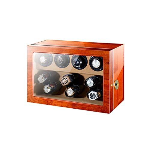 Sunmong Caja enrolladora de Reloj automática Rectangular, Posiciones de enrollador de Control separadas, Bloqueo de Huellas Dactilares, Caja de Almacenamiento de Caja Fuerte para Reloj