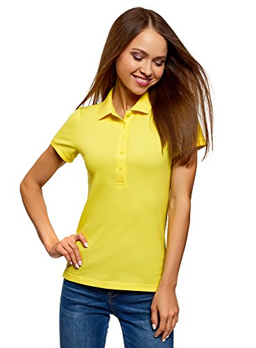 oodji Ultra Damen Pique-Poloshirt Basic , Farbe - Gelb (5100N) , Gr. M