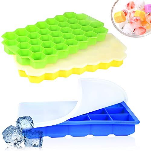 APERIL 3 Stück Eiswürfelform Silikon Eiswürfelbehälter mit Deckel, Eiswürfelbox Eiswurfelformen Eismaschine Ice Cube Tray für Whisky, Cocktails, Saft, Schokolade, Süßigkeiten