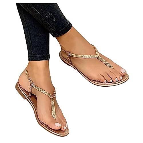 Sandalias Mujer Flip flop Verano Nuevo 2021 Planas Moda Sandalias de Vestir Playa Chanclas para Mujer Diamante brillante Zapatos Sandalias de Punta Abierta Roma casual Sandalias Fiesta Cómodo