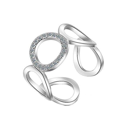 Qinlee Ringe Solitärring Bandring Öffnungsring Einstellbar Ringe Hochzeiten Bankette Jahrestag Party Schmuck Geschenk für Damen Mädchen (Silber)
