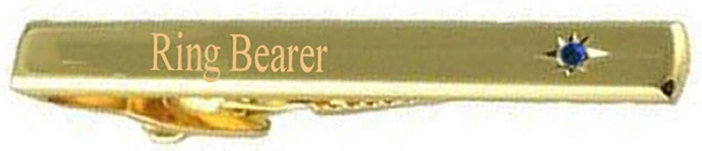 Select Gifts Ringbearer Wedding Title Gold Tie Clip Bar Blue Sapphire Crystal in Pouch