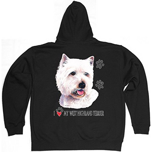 Verve Fun Shirt Westi Hunde West Highland Terrier Reißverschluss Kapuzenjacke Gr XXL in schwarz
