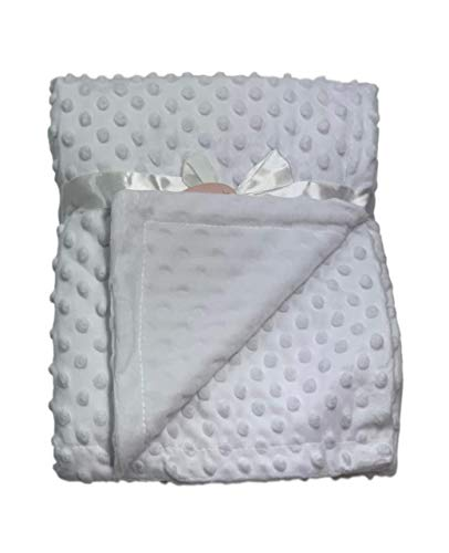 Newborn Soft Bubble Baby Blanket with Fleece Back for Crib Pram Boys Girls Infant Cot Bed Swaddle Pram Shawl Wrap Toddler Snuggle E&A Distribution Limited (white)