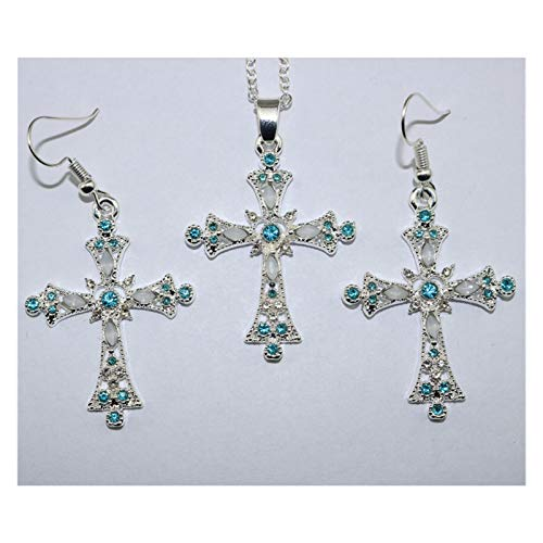 LPZW Pendientes Colgantes de la Cruz Europea y Americana para Construir la joyería de la Presa Set Collar el oído (Color : F)