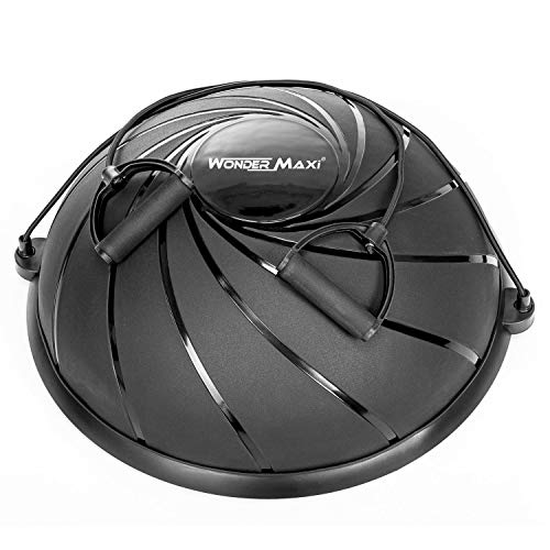 Yoga Balance Trainer Exercise Ball with Resistance Bands, Half Dome Stability Ball Home Fitness Strength Exercise Workout with Pump (Black)