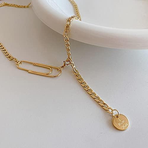 Collar Joyas Cadena De Borla En Y De Color Plateado Dorado I Love You Disco Grabado Diseño De Clip De Papel Collares De Cadena Cubana para Mujer Oro