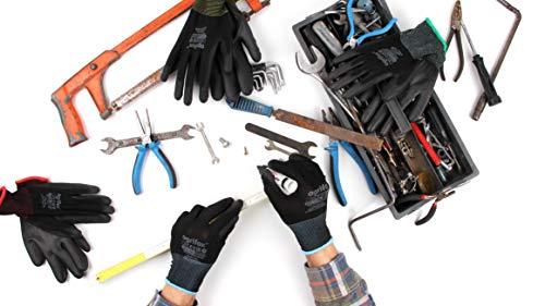24 pares de guantes de trabaj poliuretano y clip para guantes FUZZIO® (XL – 10, Negro)