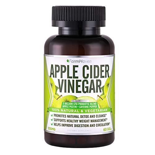 FarmHaven Apple Cider Vinegar Capsules 1330mg Per Serving, 60 Veggie Capsules - Apple Cider Vinegar with Cayenne Pepper & Probiotics for Healthy Diet, Cleanse, Detox & Digestion, Non-GMO
