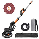 Drywall Sander, Tacklife 6.5A Variable Speed 500-1800 RPM Automatic Vacuum System Electric drywall sander with LED Light and 12 Sanding Discs, Extendable Handle 1.6-1.9m, 15ft Power Cord | DIY Tool