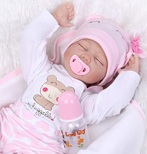Reborn Baby Dolls Girl Sleeping Reborn Dolls Lifelike Eyes Open Soft Vinyl Silicone Baby Doll Newborn Baby Babies 22 inch Children Gifts