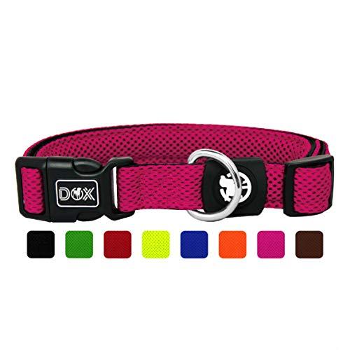 DDOXX Hundehalsband Air Mesh, verstellbar, gepolstert | viele Farben | für kleine & große Hunde | Halsband Hund Katze Welpe | Hunde-Halsbänder | Katzen-Halsband Welpen-Halsband klein | Pink Rosa, XS
