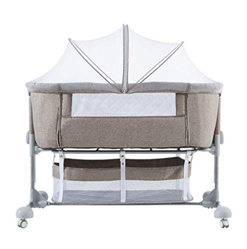 New Xinrangxin Crib Bed Stitching, Folding Bed Lift Baby Bed, Height Adjustable 7-Speed, High-Densit...