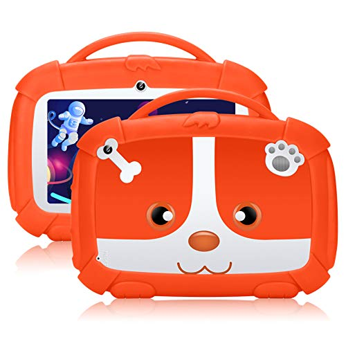 Tablet per bambini,7 pollici,Android 9.0 Qiamoo16 GB Kids Quad Core CPU 1,5 GHz Tablet per bambini con modalità di sicurezza per bambini supporto WiFi & Google Play arancione