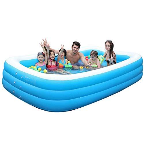 MIAO Aufblasbarer Pool der Familie Swim Center, rechteckiger Pool für Kinder, einfach zu montieren, Blauer, riesiger Pool 210 x 150 x 75 cm, Faltbarer und mobiler Pool