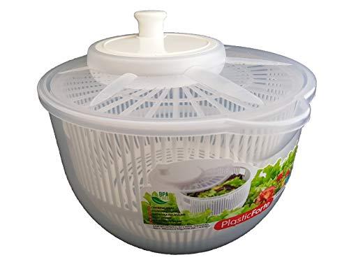 DAKE Centrifugadora Lechuga Pequeña Profesional Ensalada Verduras Manual Escurridor Hojas Transparente Colores (Blanco)
