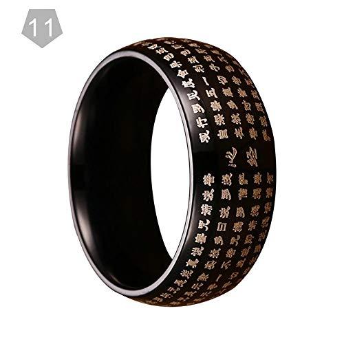 Buddhismus Ring, Hochwertiger Edelstahl Material Standardgröße Religiösen Stil Herrenring Buddhistischen Schriften Ring Schmuck der Männer