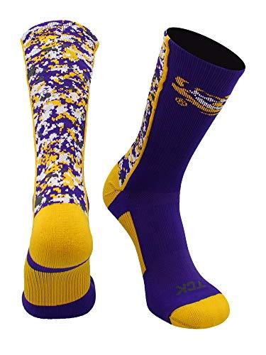 TCK Sport LSU Tigers Digital Camo Crew Socken, Jungen Damen Mädchen Herren, Purple/Gold/White, Large