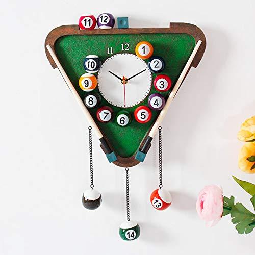 ZBW Pub Sign Billard-Uhr Kreative Persönlichkeit Snooker Wanduhr Mute Handwerk Wanduhr