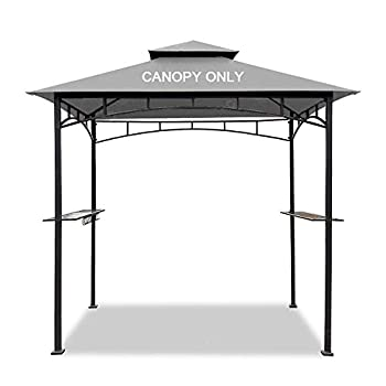Easylee Grill Gazebo Shelter Replacement Canopy 5 x8  Double Tiered BBQ Cover Roof ONLY FIT for Gazebo Model L-GG001PST-F  Grey