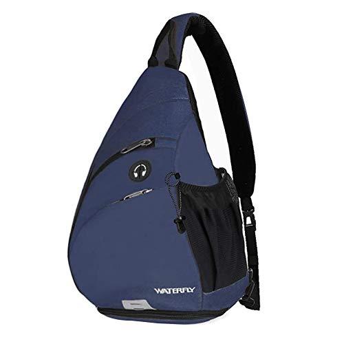 WATERFLY ボディバッグ ワンショルダーバッグ 斜めがけ 大容量 防水 軽量 イヤホン穴付き ショルダー付替え可能 スポーツ アウトドア サイクリング カジュアル 旅行 (ブルー)