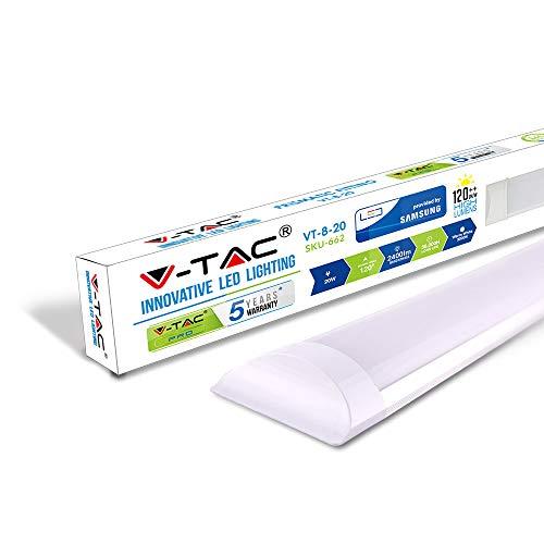 V-TAC 20W 2ft LED-Lichtleisten Integrierte Röhrenlampe 3000K Warmweiß 600x74x24mm Wand- und...