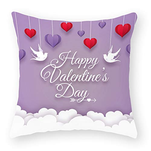 Valentines Pillow Covers 18 x 18 Inches - Valentines Decorations Series Cushion Cover Case Pillow Custom Zippered Square Pillowcase