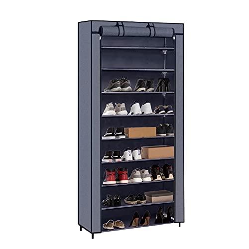 Meerveil Schuhschrank Stoffschrank 9 Ebenen, Schuhregal Stoffregal für ca. 45 paare Schuhe, 160*88*28cm, Schuhablage Schuhständer mit Schutzhülle, Grau