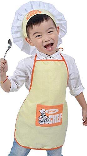 Chef-kokkostuum - uniform - junior - chef - kinderen - vermomming - carnaval - halloween - hoed - schort - jongen - meisje - origineel idee voor een verjaardagscadeau voor kerstmis - geel - one size