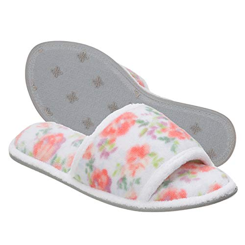 Dearfoams Women's Beatrice Microfiber Terry Slide with Quilted Vamp Slipper, Pink Floral, Small