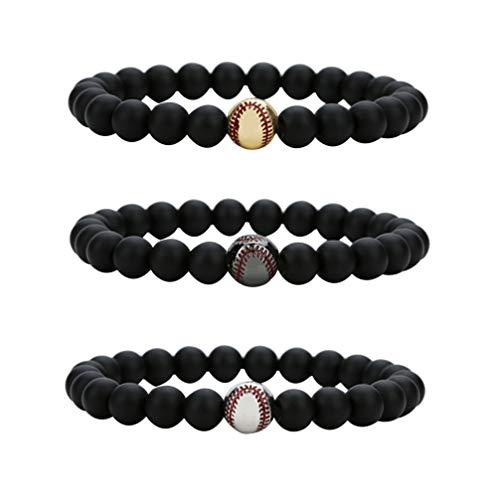 Exceart Armbänder für Männer Gefrostet Perlen Kupfer Baseball Armbänder Elastische Perlen Armband Armreif Zubehör (3Pcs 8Mm Stein)