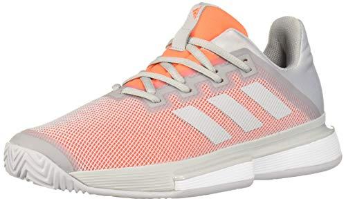 adidas Women's SoleMatch Bounce Tennis Shoe, Light Grey Heather/Light Grey Heather/hi-res Coral, 8 M US
