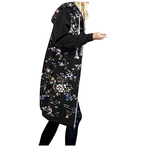 Sudadera de mujer con capucha de manga larga para otoño e invierno, estilo cálido con cremallera, A-negro., S