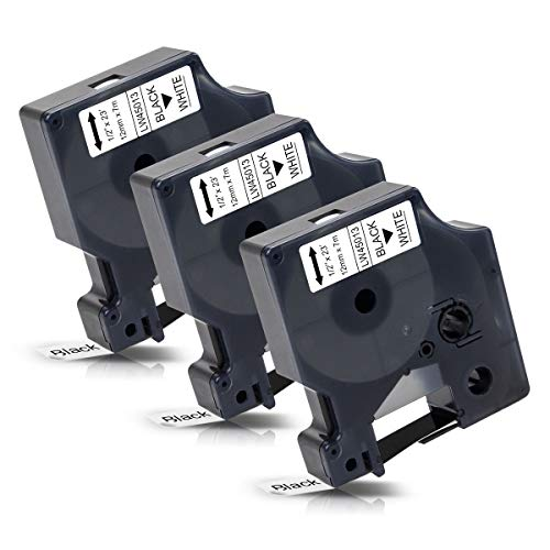 3x Labelwell 12mm 1/2 Kompatibel Schriftband Ersatz für DYMO 45013 45013s S0720530 Schwarz auf Weiß für Dymo LabelManager 160 210D 360D 280 420P 500TS Labelpoint 250 150 100 Labelwriter 450 Duo Turbo