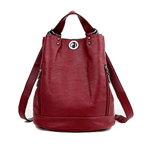 Fashion Mode Damen Rucksack PU Leder Damentasche Schultertasche Handbag Rucksäcke Frauen Rucksack 2 in 1 Multifunktionaler Rucksack (Rot)