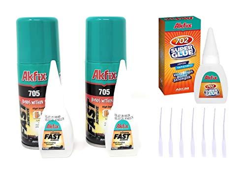Akfix 705 Super CA Glue (2 X 0.7oz) with Spray Activator (2 X 3.38 floz) and 0.7 oz Thin CA. Wood, Metal, Plastic, Leather, Crafts. Clear CA Glues