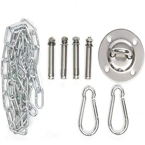 dehong 304 Stainless Steel Heavy Duty Swing Hook with Carabiner and Screws Accessories, 1000LB Capacity, Hammock Eye Bolt for Any Swing or Hammock