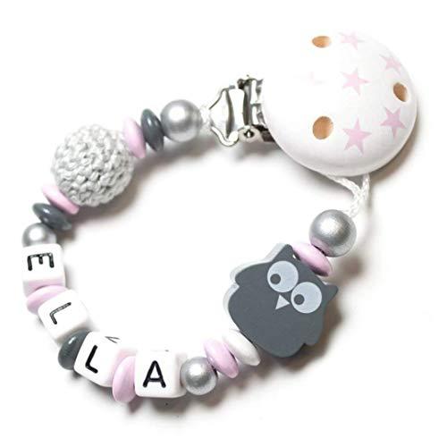 Schnullerkette mit Name - Junge Mädchen (Häkelperle, Eule, rosa, grau)