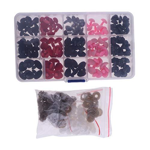 D DOLITY 132 Stück Kunststoff Sicherheitsnasen mit Unterlegscheibe im Box für Bär Tiere Puppen Machen (11-16mm)