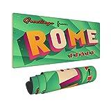 HUAYEXI Alfombrilla Gaming,Roma Turística Vintage,Hotel Italia,con Base de Goma Antideslizante,800×300×3mm